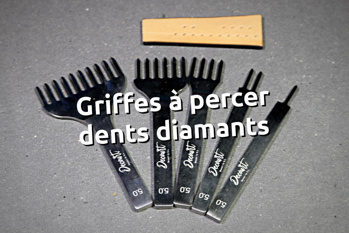 Griffe à frapper pour percer le cuir forme dent diamant - fabriqué par Decourt by Kevin Lee pour cuirtissu.com - tithouan pour point-sellier.Com