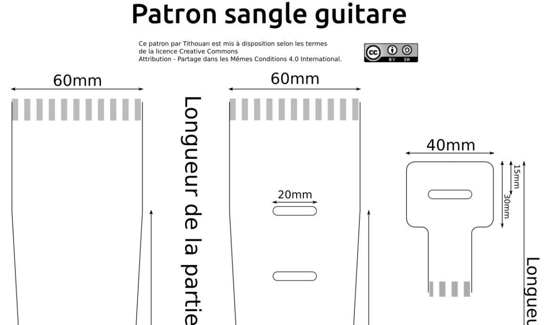 Patron gratuit et libre de sangle en cuir pour guitare ou basse