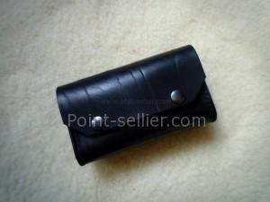 Pochette cuir noir téléphone chantier cuir épais