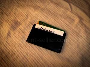 porte cartes plat format carte bleu horizontal en cuir