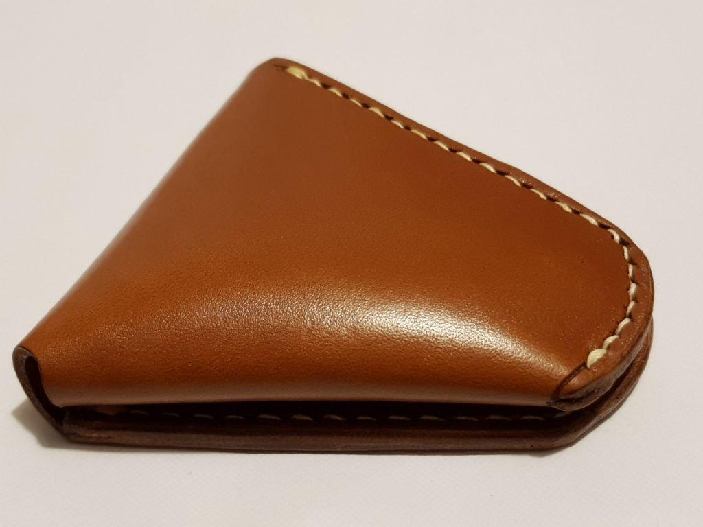 Porte monnaie triangle cousu poche en cuir Olivier M. - point-sellier.com