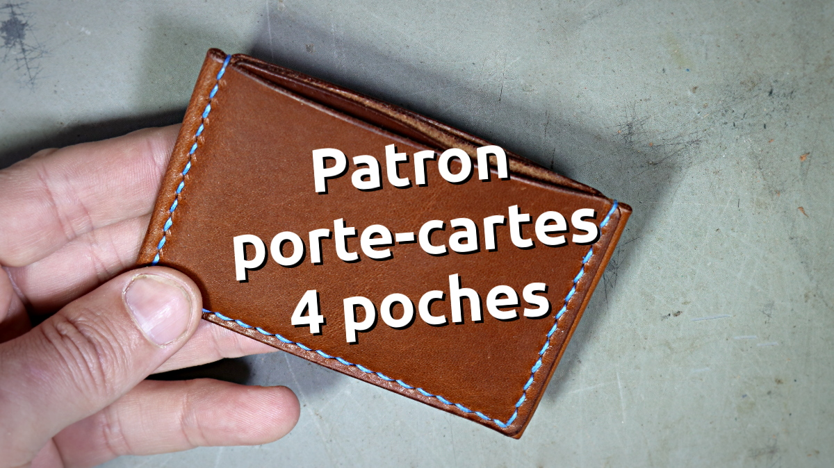 patron gabarit porte cartes cuir 4 poches tannage végétal - point-sellier.com - tithouan